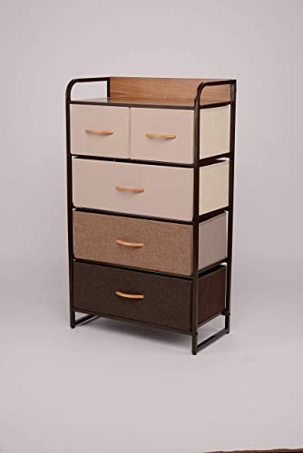 ORAF Vertical Tall Dresser Storage Chest with 5 Drawers – Sturdy Steel Frame Wood Top Furniture Dresser Organizer for Bedroom,Dorm,Hallway, Entryway, Small Space, Easy Pull Fabric Bins,Multi Espresso