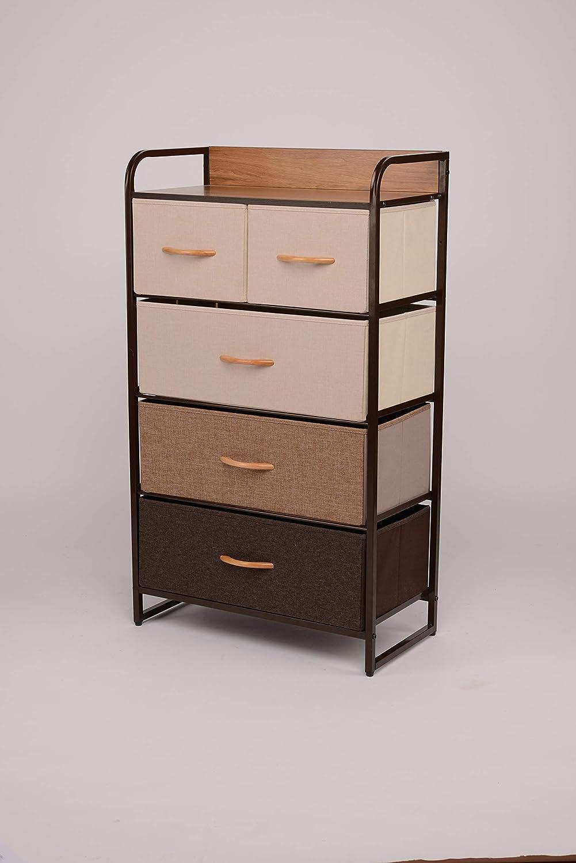 ORAF Vertical Tall Dresser Storage Chest with 5 Drawers - Sturdy Steel Frame Wood Top Furniture Dresser Organizer for Bedroom,Dorm,Hallway, Entryway, Small Space, Easy Pull Fabric Bins,Multi/Espresso