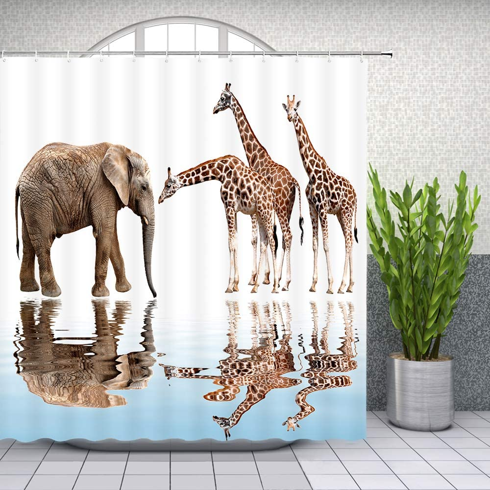 Giraffe and Elephant Shower Curtain African Animals Bathroom Waterproof Polyester Fabric Home Bath Decor Accessories Hanging Curtains Set with Hook 69 x 70 Inch