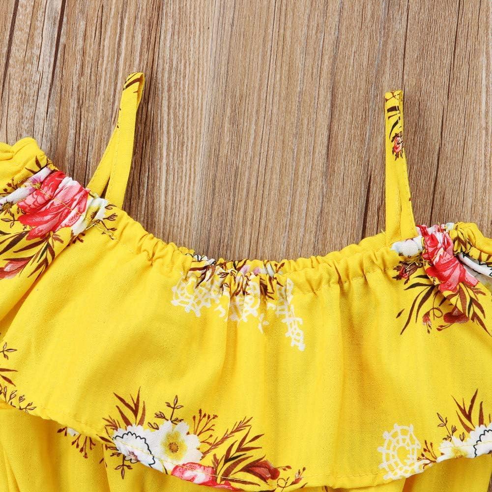 Estivo Idea Regalo Spiaggia Completino Bambina Inception Pro Infinite Completo Fiori Maglietta Pantaloncini Corti Coordinato Estate Floreale Top Mare Giallo