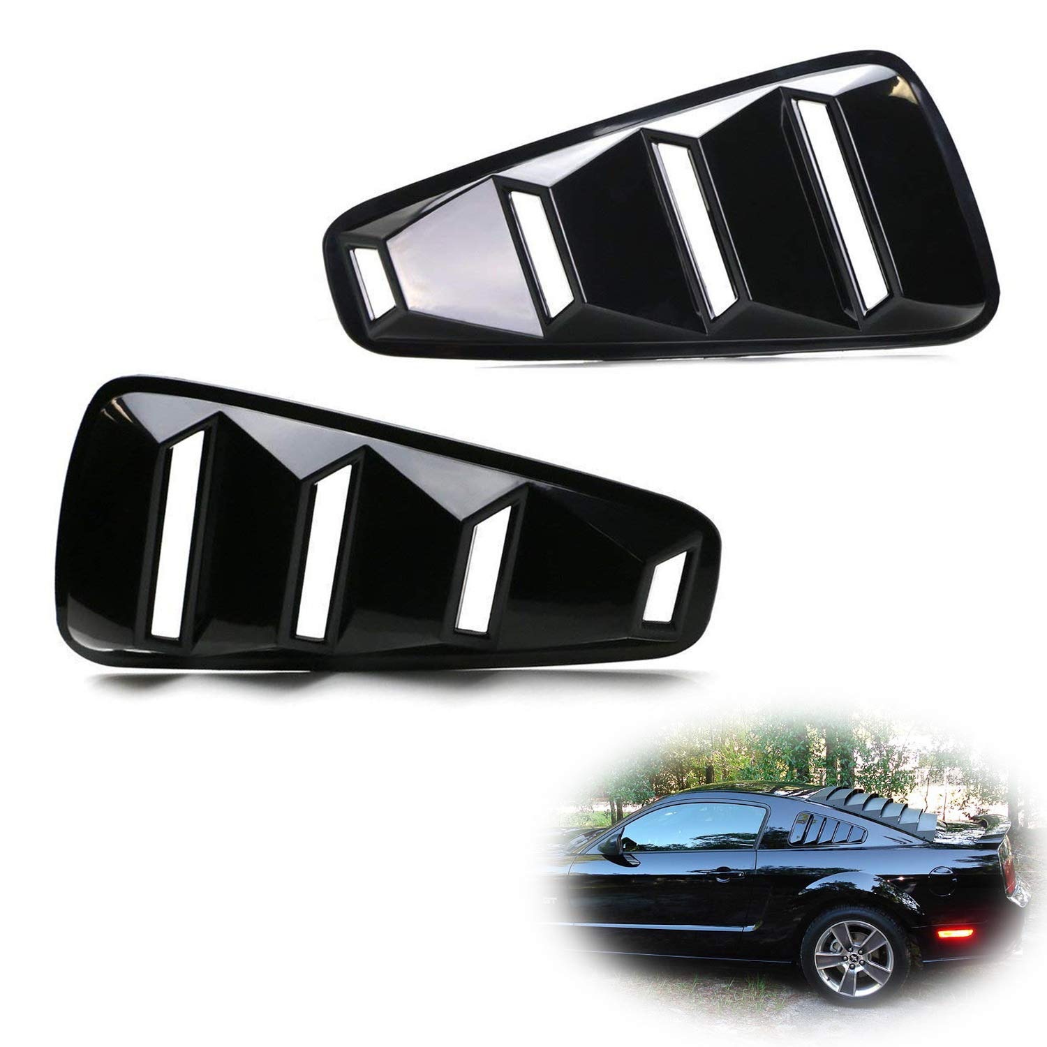 iJDMTOY Left/Right Glossy Finish Racing Style Rear Side Window Scoop Air Vent/Louver Shades For 2005-2014 Gen5 Ford Mustang iJDMTOY Auto Accessories Air Vent Scoop Louver Assembly Assy Kit