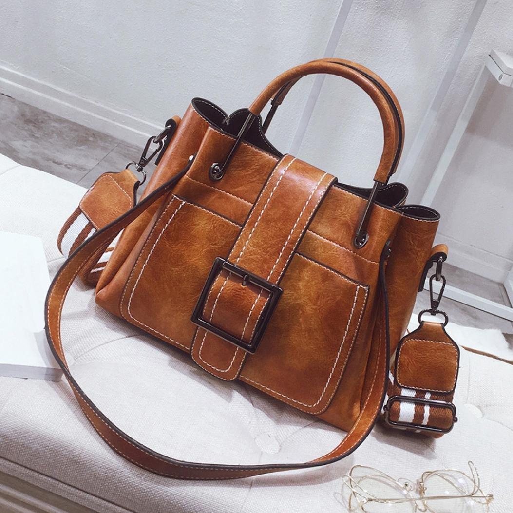 YJYDADA Retro Women's Leather Shoulder Bags With Corssbody Bag&Handbag (Brown)