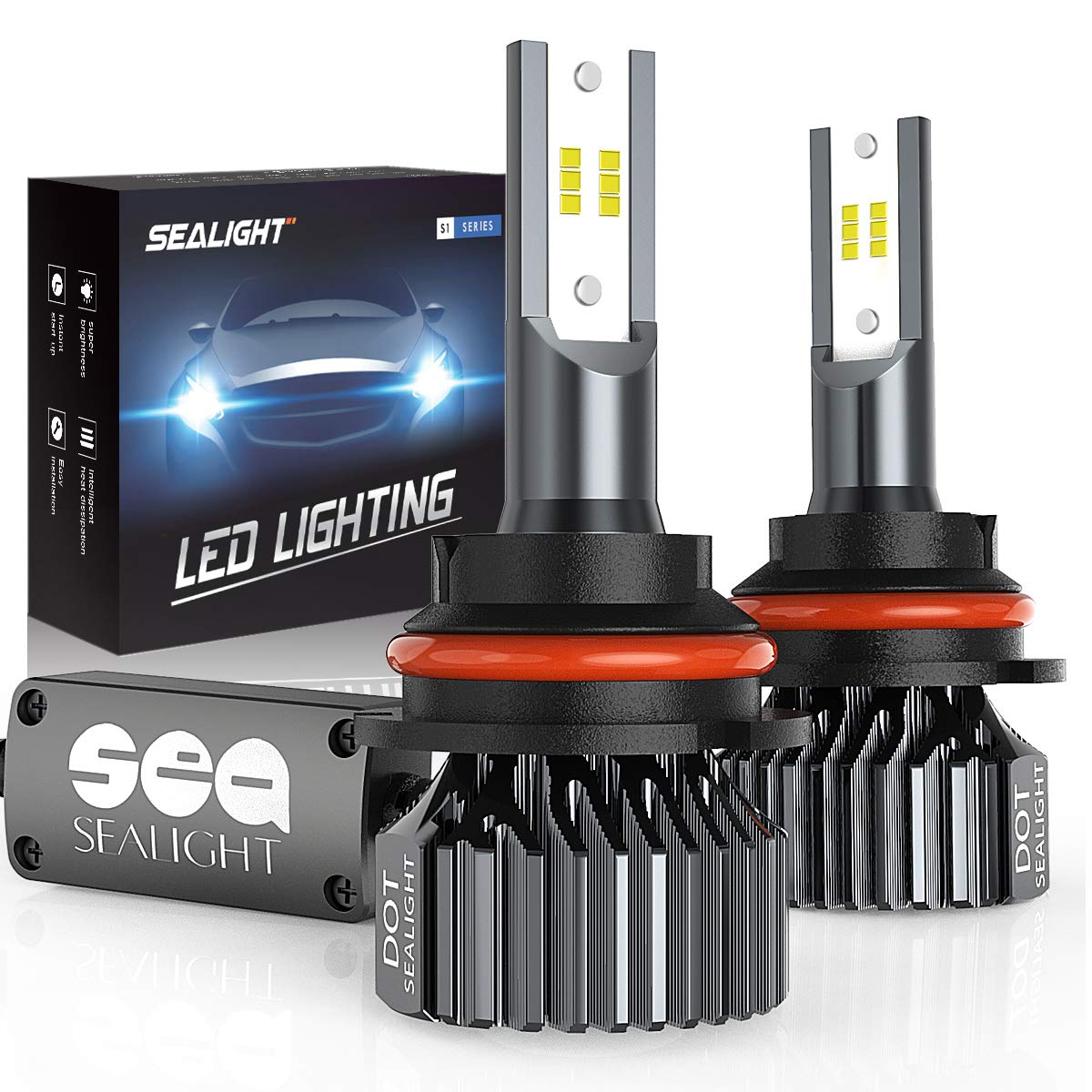 SEALIGHT 9007 HB5 led headlight bulbs Hi/Lo Beam,Smallest Size,Super Bright 12xCSP Chips Conversion Kit Dual beam Bulb 6000LM 6000K White(Pack of 2)