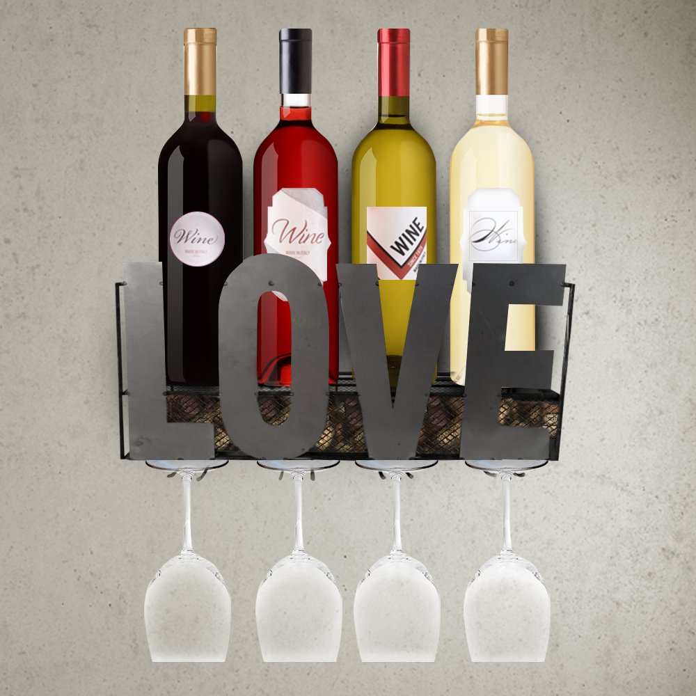 LivingEasy Wall Mounted Or Countertop Wine Rack With 4 Long Stem Glass Holder and Cork Storage | Home and Kitchen Decor