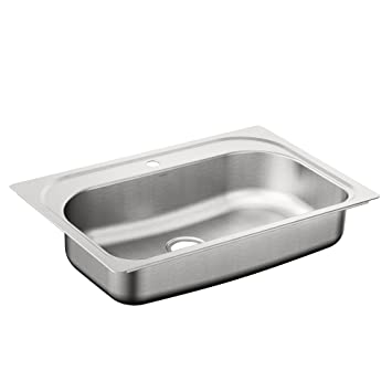 moen g181631q 18 gauge dropin single bowl stainless steel kitchen sink stainless steel