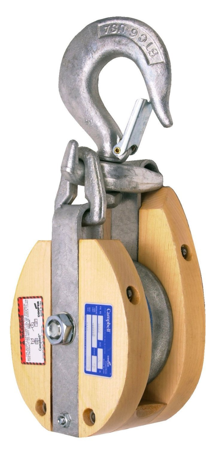 Campbell 7265486 4'' Single Wood Drop Link Snatch Block with Stiff Swivel V Latch Hook, 750 lbs Load Capacity, 2'' Sheave