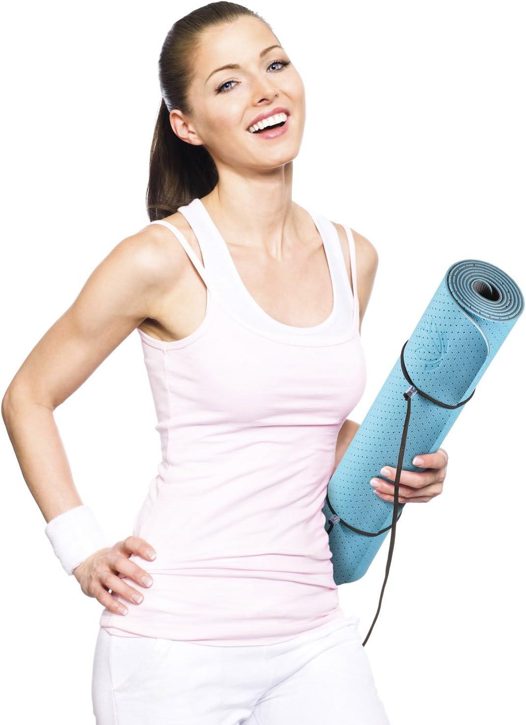 Goods /& Gadgets Body /& Mind Yogamatte weich und schadstoff-frei Trageschlaufen extrem rutschfest umweltfreundliche 183 x 61 x 0,5cm inkl Hypo-allergene Yoga TPE-Matte