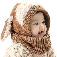 Lindo Bebé del Invierno Niñas y Niños Cálidos Sombreros Lana Tapas de Bufanda de Cuello Capucha de Punto