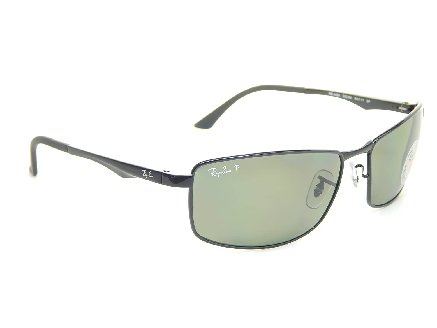 9df6ce5ef46 Amazon.com  New Ray Ban RB3498 002 9A Black Polarized Green 64mm  Sunglasses  Clothing