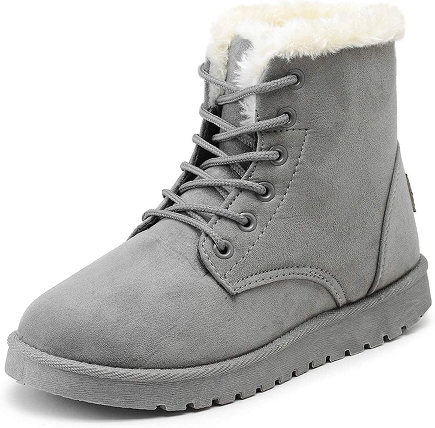 Big Incisors Women Snow Boots Flat Lace Up Winter Ladies Warm Shoes Flock Fur Womens Suede Ankle Boots Female,Gray,4