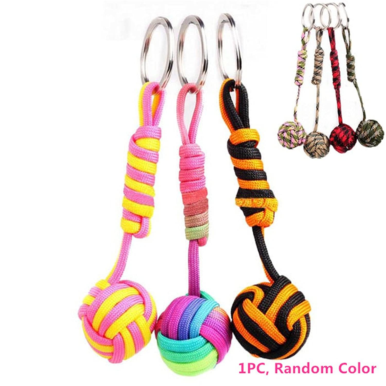 Colorful Parachute Cord Ball Key Ring, SUPPION Lanyard Bag Charms 1PC Random Color