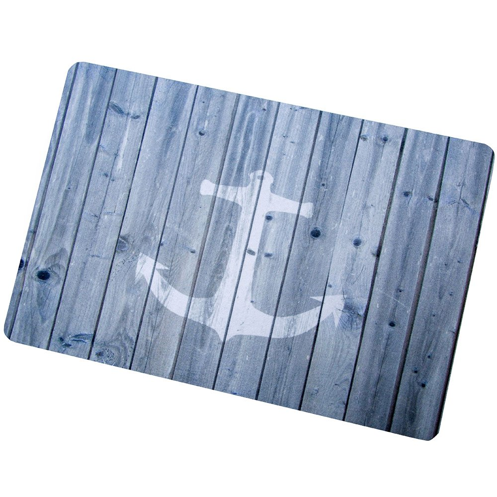 Entrance Mat Floor Mat Rug Indoor/Bathroom Thin Mats Rubber Non Slip Blue Nautical Anchor Rustic Old Barn Wood