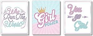 Brooke & Vine Girl Power Girls Room Wall Decor Art Prints (UNFRAMED 8 x 10) - Inspirational Wall Art, Motivational Quotes Posters for Girls, Kids, Teens, Tween Office Bedroom, Dorm, Cubicle, Desk (Girl Power)