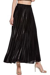 f13109e45 Chartou Women's Premium Metallic Shiny Shimmer Accordion Pleated Long Maxi  Skirt