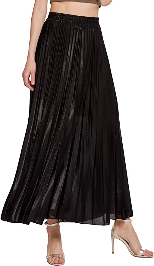 size 10 Shiny metallic style pleated vintage skirt by Perry