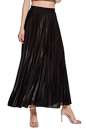 06ec8015da Chartou Women's Premium Metallic Shiny Shimmer Accordion Pleated Long Maxi  Skirt (X-Small,