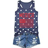 Chulianyouhuo Women 4th of July Tank Tops American Flag Print Sleeveless T-Shirts Tees Casual Vest Blouse