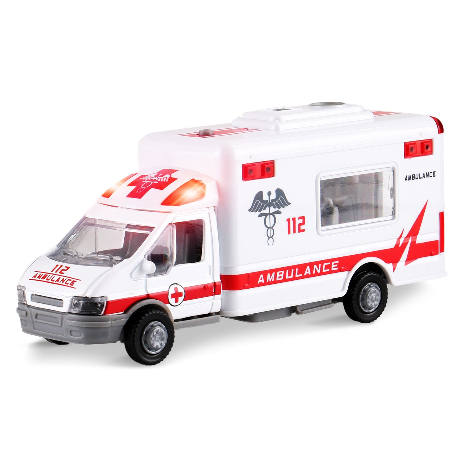 Liberty Imports Diecast Ambulance Pullback Friction Toy Emergency Vehicle w/ Lights and Sounds