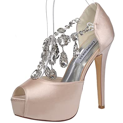 caa594d02e7 JIAME Womens Peep Toe Stiletto High Heel Platform Pumps T Strap Satin  Rhinestones Wedding Bridal Shoes