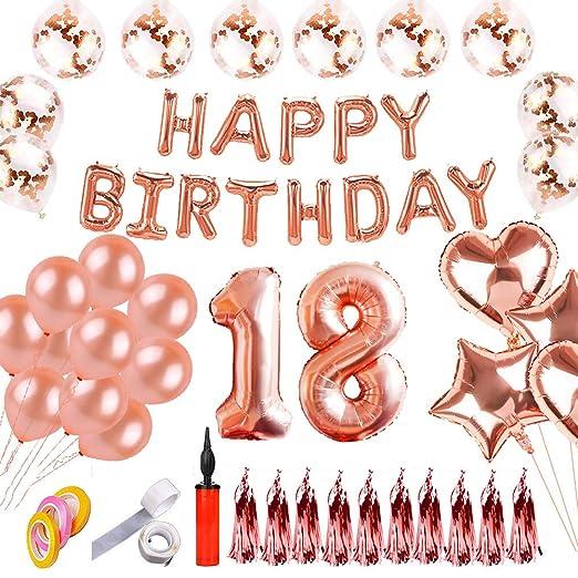 SHUIBIAN Set de decoración de cumpleaños con 18 Feliz ...