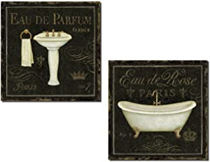 Lovely Black and Gold Paris Pedestal Sink and Clawfoot Bathtub Prints by Daphne Brissonnet; Twp 12x12in Poster Prints
