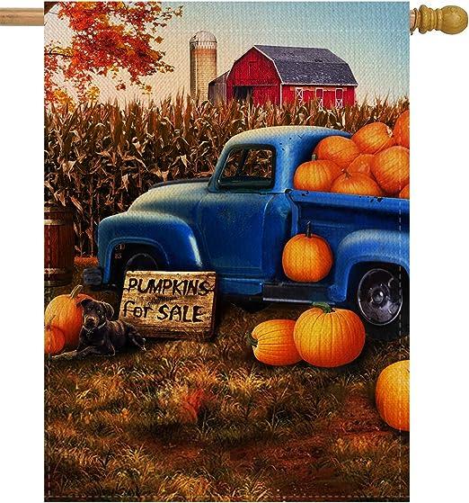 FALL TRUCK Autumn Pumpkins Table Runner 13