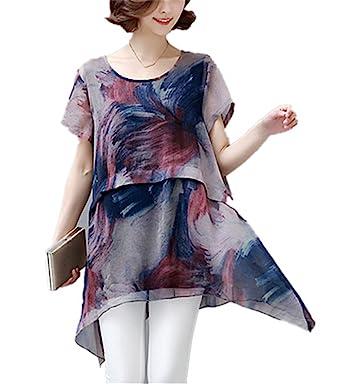 QIHUOKEJU Plus Size Women Long Chiffon Blouse Brown Fashion Chiffon Short Sleeve Shirt