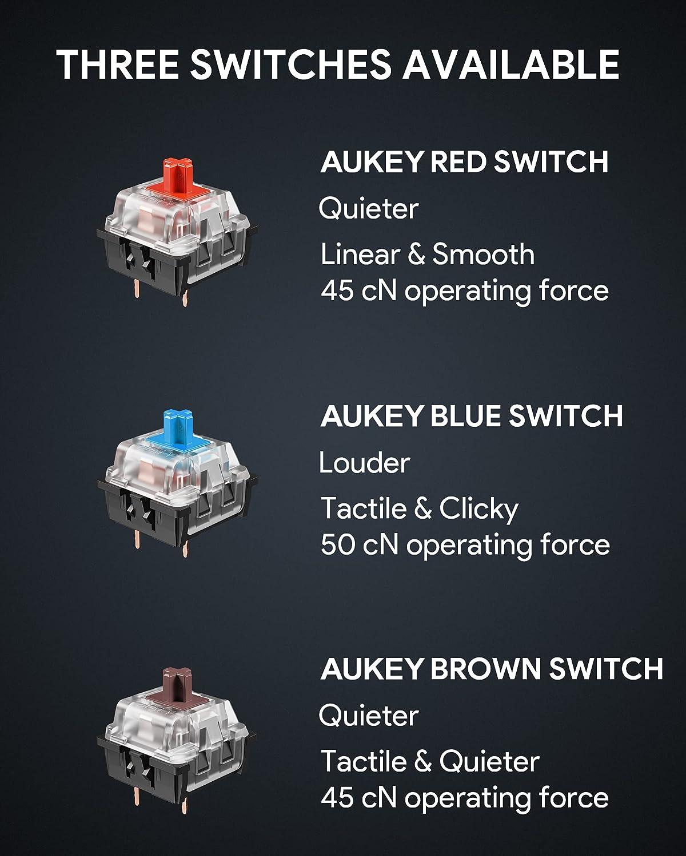 AUKEY Teclado Gaming, Teclado Mecánico con Retroiluminación ...