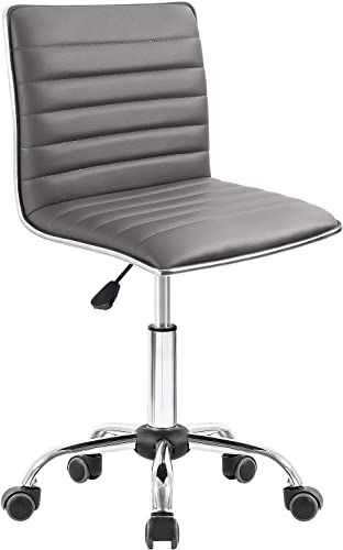 Homall Modern Adjustable Low Back Armless Ribbed Task Chair Office Chair Desk Chair, Vanity Chair Swivel Rolling Leather Computer Chairs Conference Chair Gray