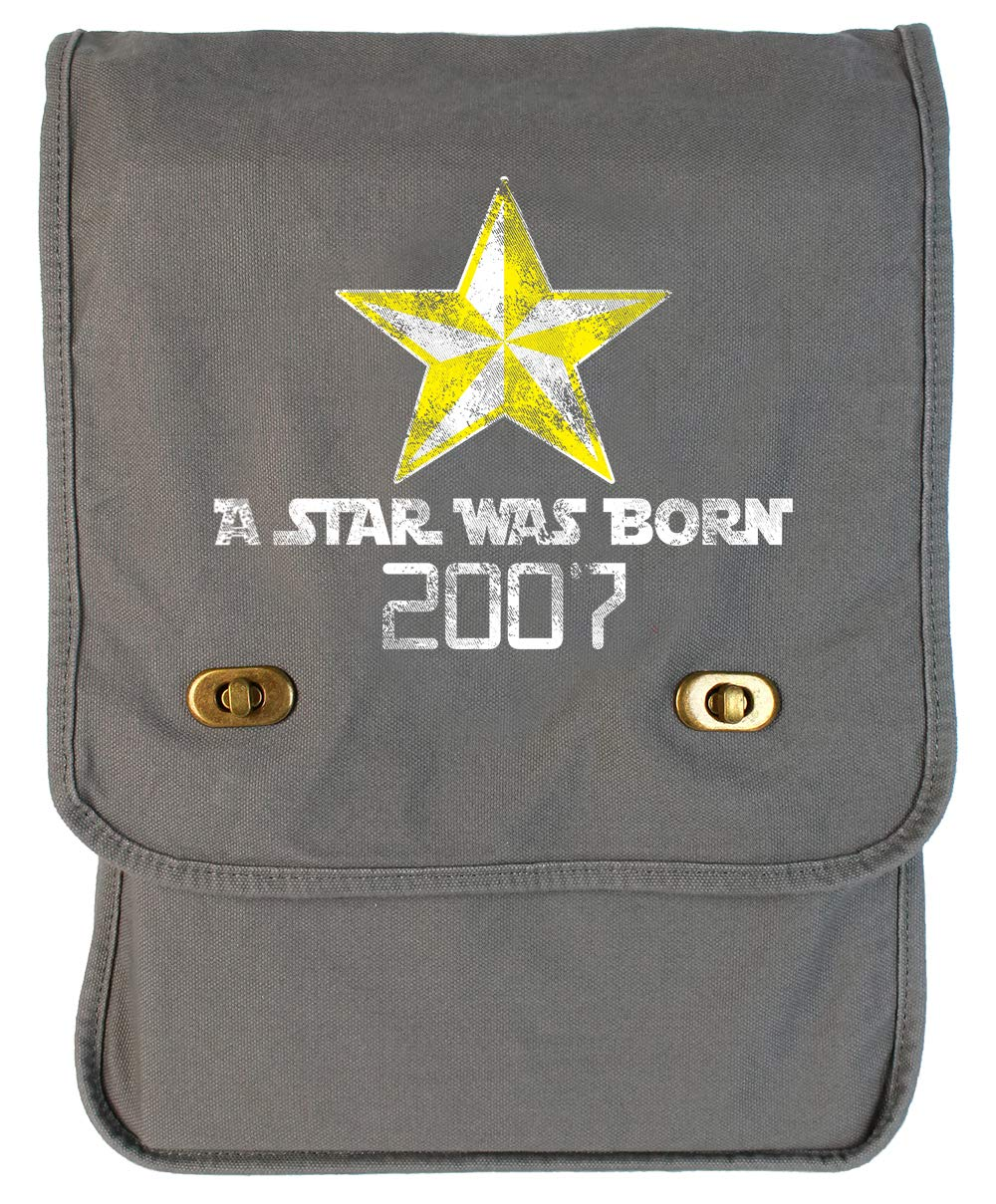 Tenacitee A Star Was Born 2007 Grey Brushed Canvas Messenger Bag