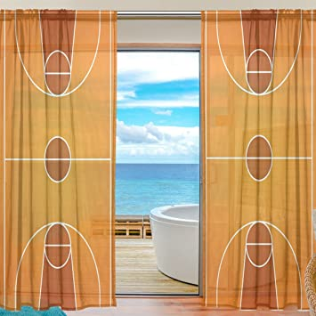 Blue Viper Basketball Courts Sheer Window Curtains Voile Treatment Panels Rod Pocket Personalized Home Decor For
