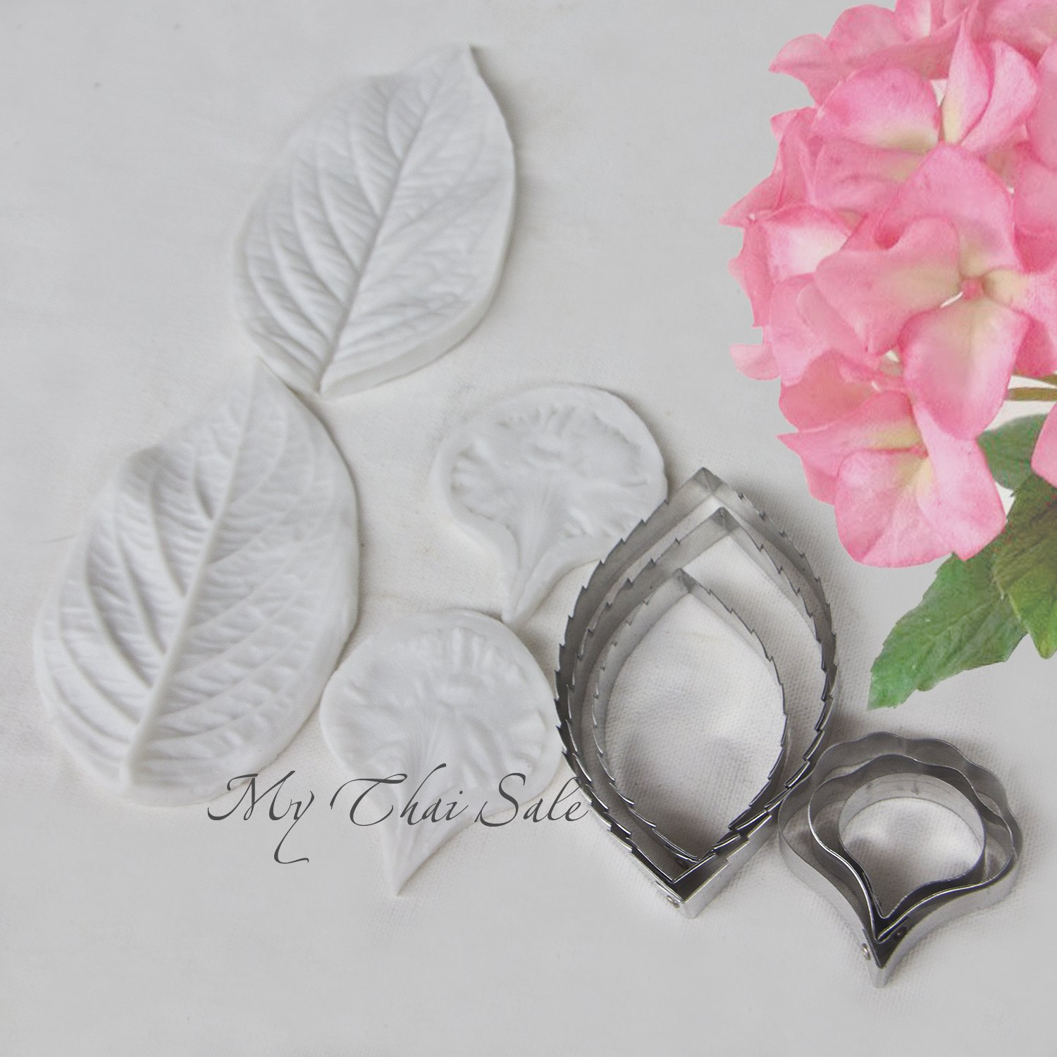 Set of 6 Cutters, Two Silicone Molds for Petals and Leaves Hydrangea for Flower Making Fondant Supplies Polymer Clay