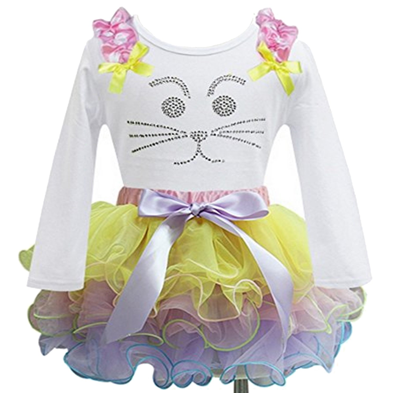 Pastel Rainbow Tutu Easter Rhinestone Bunny White Tank Top 2pcs Set