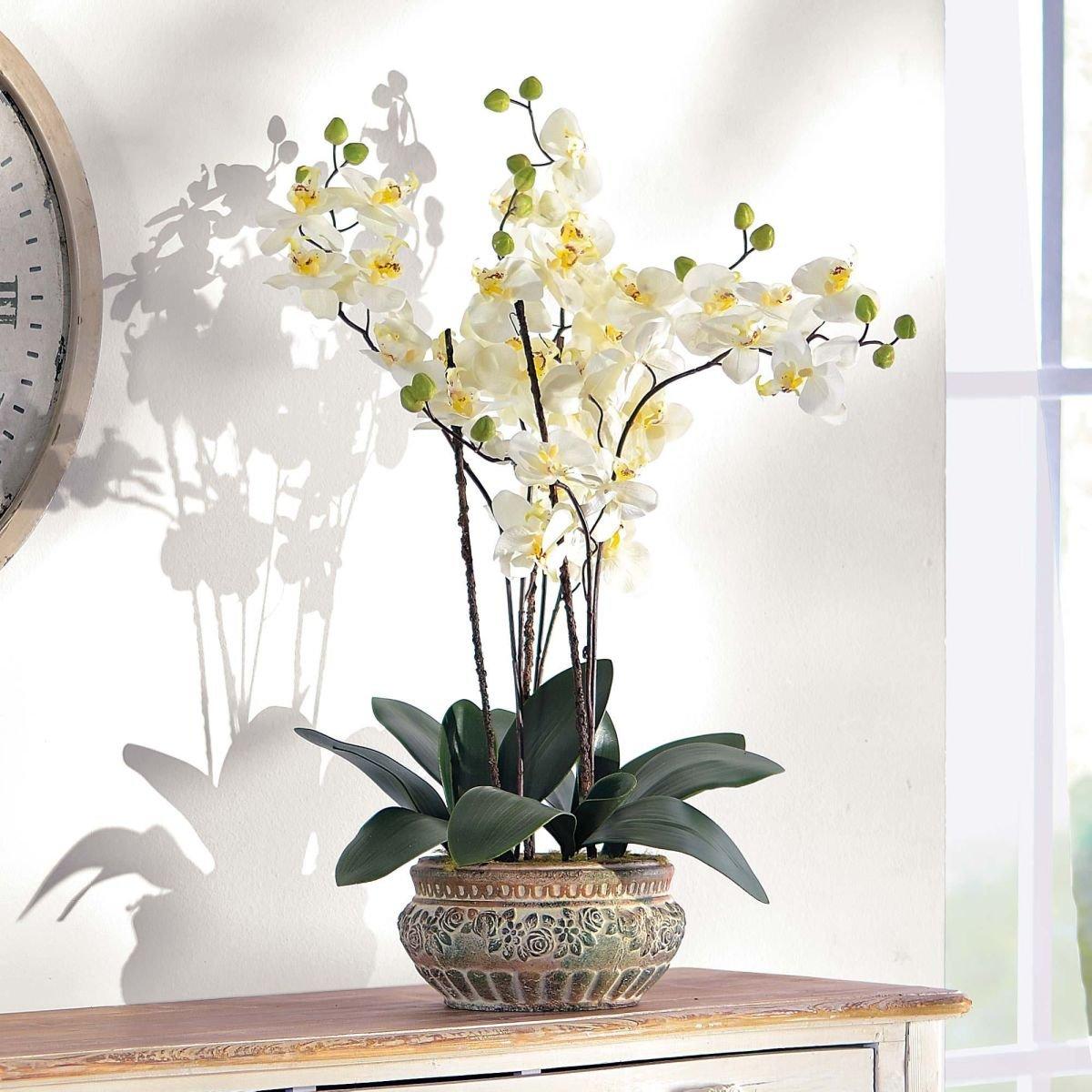 Plante artificielle orchidée et cache-pot en céramique marron hauteur 58 cm
