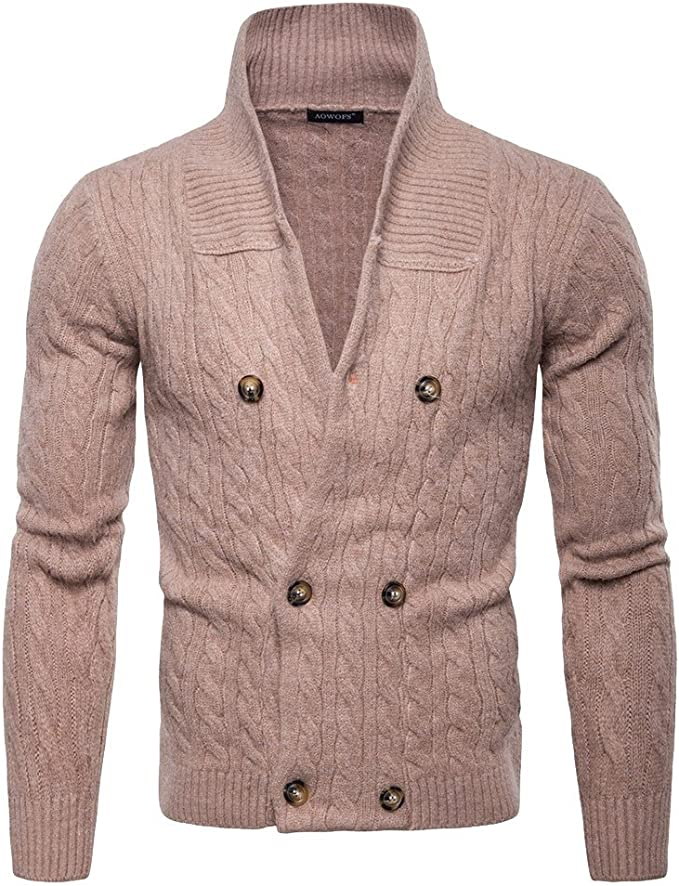 ouxiuli Mens Thicken Stand Collar Zip Outdoor Slim Knitted Cardigan Sweaters