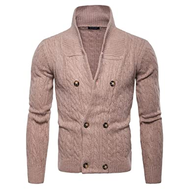 EVEDESIGN Men s Shawl Collar Double Breasted Sweater Thick Solid ... 1a3ba87f4