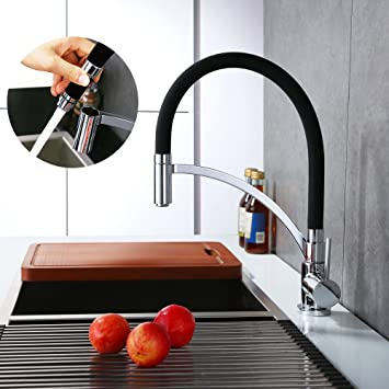 homelody black chrome kitchen sink tap mixer taps pull out mono with uk standard fittings single - Kitchen Sink Tap Fittings