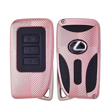 Funda para Llave de Coche para Lexus IS ES GS NX RX LX, Aleación de Aluminio Jonwelsy Llavero de Coche Smart Remote Llavero Llavero Foba Cover, Oro ...