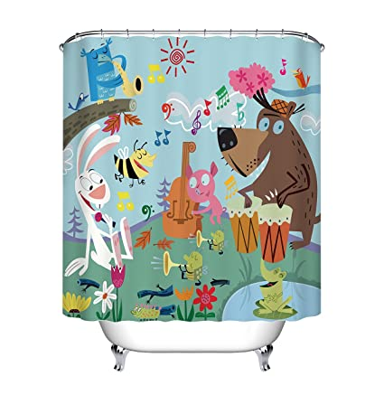 LB Cute Forest Animals Birds Play Music Shower Curtains For Stall Cartoon Woodland Animal