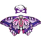 Purple Butterfly Wings Costume with Butterfly Wand Sewn 11/'/' Black Pixie Tutu /& Monarch Butterfly Wings Girls Halloween Costume