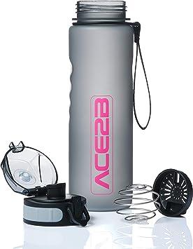 ace2b Botella de 600 ml, para deporte y fitness, con botella para batidos de proteínas + colador, botella de deporte para gimnasio, bicicleta, ...