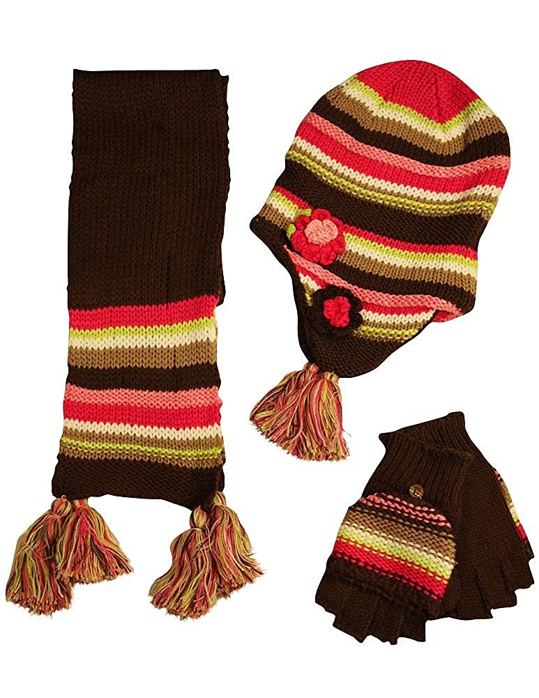 Fashion Cuties - Big Girls' Hat Scarf and Glove Set Brown Multi 33836-Fitssizes7/16