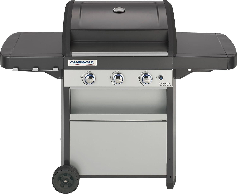 Campingaz Barbecue à Gaz Class 3 L, 3 brûleurs, Puissance 9.6kW, Système de Nettoyage Facile InstaClean, Grille et Plancha en Acier Double Emaillage, 2 Tablettes Latérales