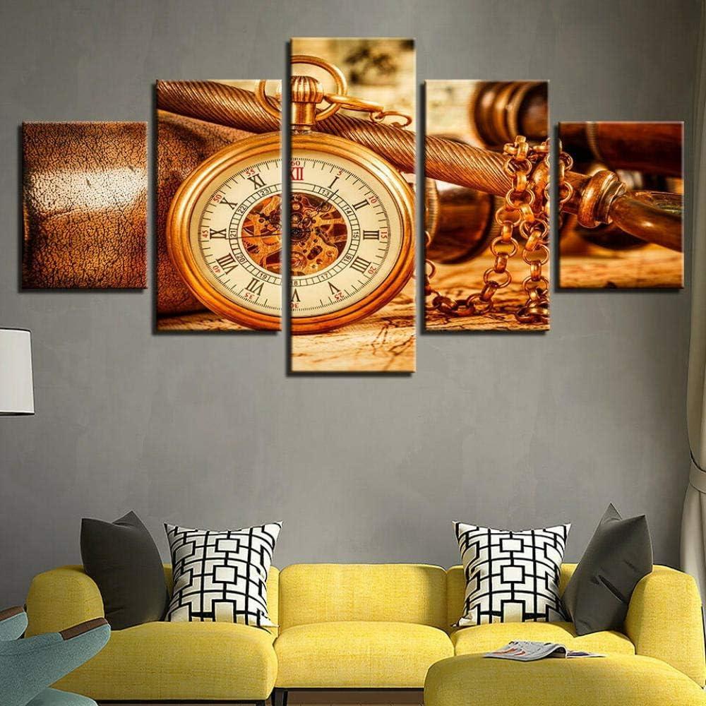 13Tdfc Cuadros Impresos En Lienzo Que Brillan En La Oscuridad 150X80Cm - 5 Piezas -Reloj Colgante Vintage Reloj Collar- Premium Lienzo De Tejido No Tejido XXL