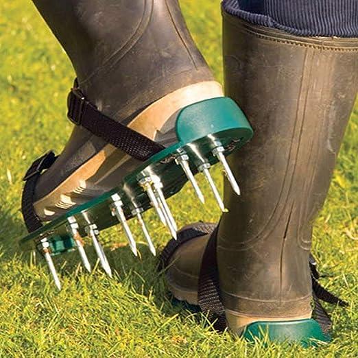 garden mile Jardín Césped Zapatos Aireador Manual Linón AIREADOR con 13x 5cm Pinchos y Correas Universal para Linón Aireador Sandalias: Amazon.es: Jardín