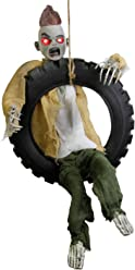 Halloween Haunters 3' Animated Hanging Swinging Tire Zombie Boy Reaper Prop Decoration - Kicking Legs, Haunted Laugh, Red Evil Eyes - Battery Operated