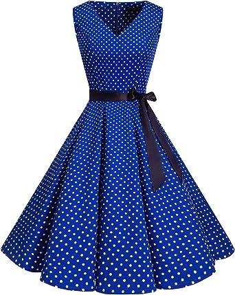 TALLA 3XL. Bridesmay Vestido de Cóctel Fiesta Mujer Verano Años 50 Vintage Rockabilly Sin Mangas Pin Up Royal Blue Small White Dot 3XL