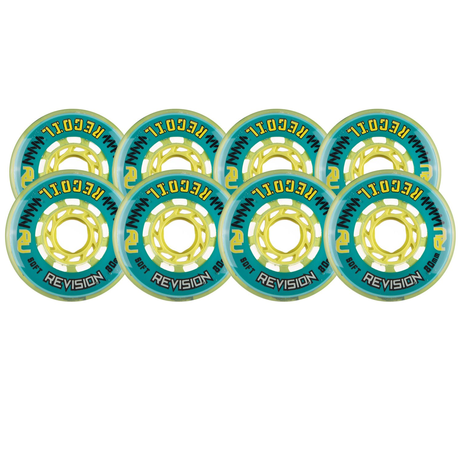 Revision Wheels Inline Roller Hockey Recoil Soft Teal 76mm 80mm 76A Hilo Set