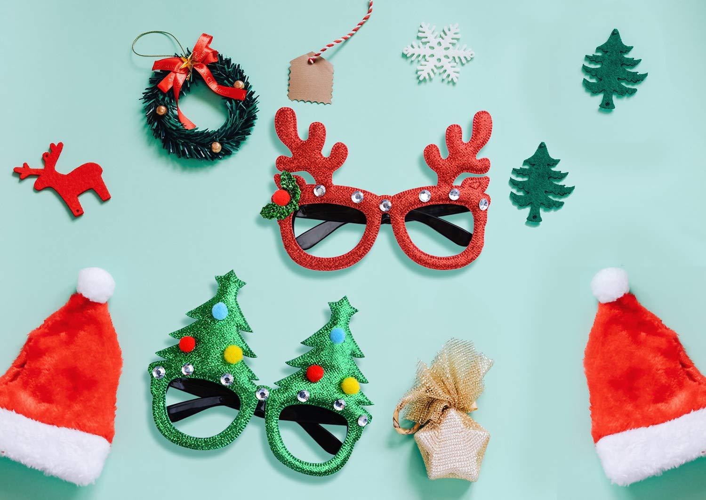 Joyibay 6 Paar Weihnachtsbrillen Cartoon Sortierte Partybrillen Partybevorzugungsbrillen Weihnachtsdekoration Zubehör