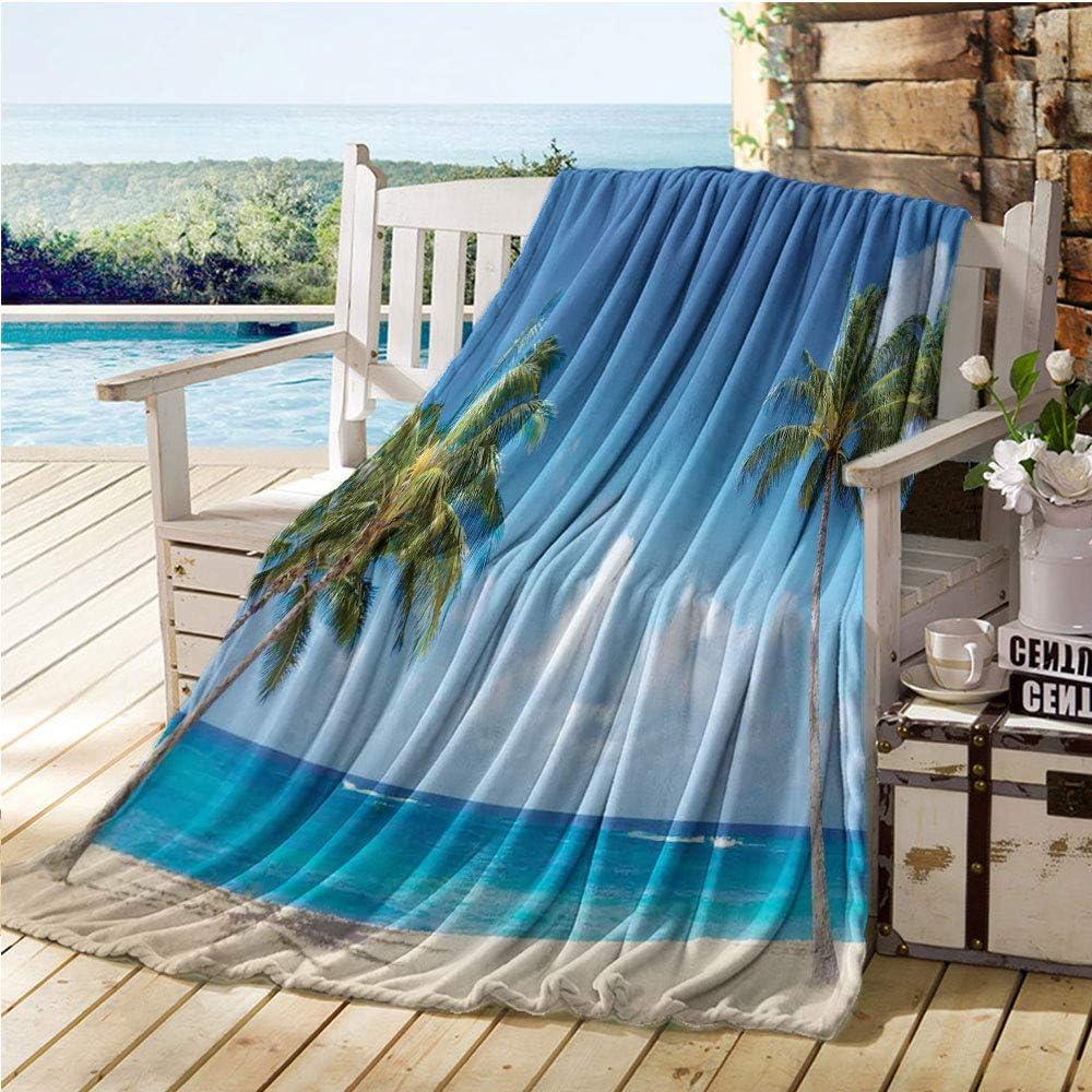 "Mademai Hawaiian Throw Blankets,Windy Exotic Island with Tropical Trees Calm Beachy Theme Ocean Photography Print,Thermal Blanket Gray Green 70""x80"""